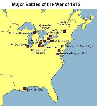 War Of X MapPorn United States Students - Map of us in 1812