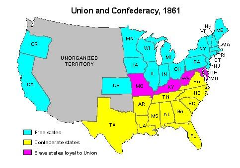 free and half slave unionconfederacy map